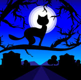 Vector Lonely cat on a tree against the night sky. And moon. Loneliness royalty free illustration