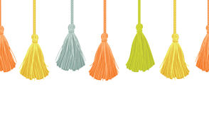 Vector Long Hanging Decorative Tassels Set With Ropes Horizontal Seamless Repeat Border Pattern. Great for handmade Stock Image
