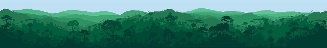 Vector long horizontal seamless tropical rainforest Jungle background. Illustration vector illustration