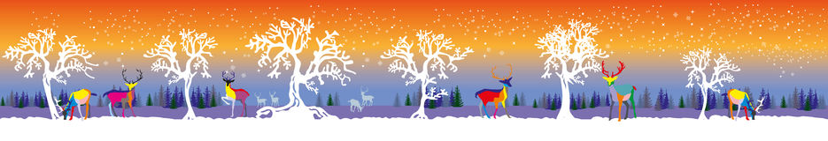 Vector long illustration winter forest with deers and trees. Vector long illustration winter forest with colorful deers and white trees on orange and blue Stock Images