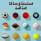Vector Long Shadow Flat 12 Ball Set. Vector Long Shadow Flat 12 Ball icon Set Royalty Free Illustration