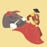 Vector long shadow flat icon of bull fight Stock Photography