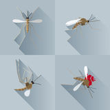 Vector Long Shadow Mosquito Dead Silhouette. Set Vector Illustration