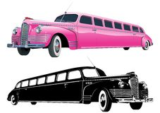 Vector long vintage limo. Color and monochrome version Royalty Free Stock Image