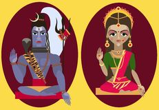 Vector lord Shiva and mata Parvati Stock Photo