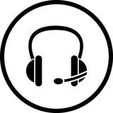 Vector los auriculares del receptor de cabeza con símbolo del micrófono Imagen de archivo libre de regalías