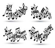 Vector los bastones ondulados alegres negros con las notas musicales sobre el backg blanco stock de ilustración
