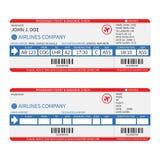Vector los boletos del pasajero y del equipaje de la línea aérea (documento de embarque) con el código de barras Fotografía de archivo libre de regalías