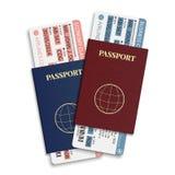 Vector los boletos del pasajero y del equipaje de la línea aérea (documento de embarque) con el pasaporte del código de barras y  Foto de archivo libre de regalías