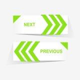 Vector los botones anteriores y siguientes de la navegación para el diseño web de encargo Fotos de archivo libres de regalías
