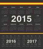 Vector los calendarios españoles negros del círculo 2015, 2016, 2017 Imagenes de archivo