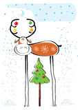 Vector los ciervos de la Navidad. .POstcard Imagenes de archivo