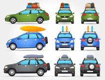 Vector los coches del viaje - lado - frente - visión trasera Foto de archivo libre de regalías