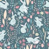 Vector los conejitos, las flores y las ramas dulces, cseamles lindos de Pascua Fotos de archivo libres de regalías