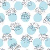 Vector los contornos de los lirios con el modelo inconsútil de los círculos del azul en el fondo blanco Diseño floral del vintage ilustración del vector
