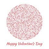 Vector los corazones rojos de la esfera del círculo para el fondo de la tarjeta del día de tarjetas del día de San Valentín Imagen de archivo