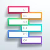 Vector los cuadros de texto numerados color 3d apiló 1 a 6 ilustración del vector