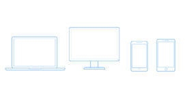 Vector los dibujos para los teléfonos móviles, los ordenadores y los cuadernos ilustración del vector