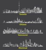 Vector los ejemplos abstractos de los horizontes urbanos canadienses de la ciudad en la noche Fotografía de archivo libre de regalías