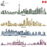 Vector los ejemplos de las ciudades canadienses Toronto, de los horizontes de Montreal, de Vancouver y de Ottawa en diversas pale ilustración del vector