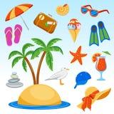 Vector los ejemplos de las vacaciones de verano en el mar stock de ilustración
