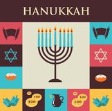 Vector los ejemplos de los símbolos famosos para el día de fiesta judío Jánuca Fotos de archivo libres de regalías
