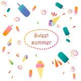 Vector los ejemplos del helado aislados en el blanco, tema del verano Imagen de archivo