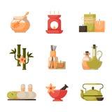 Vector los ejemplos del tratamiento hermoso del balneario de la mujer, iconos de la salud de los procedimientos de la belleza libre illustration