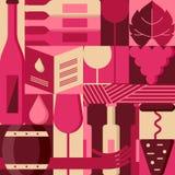 Vector los elementos planos del diseño para la carta de vinos, etiqueta, empaquetando, menú de la barra Fondo con las botellas de Imágenes de archivo libres de regalías