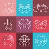 Vector los emblemas redondos del amor y del cuidado en estilo linear Foto de archivo libre de regalías
