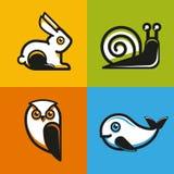 Vector los emblemas y los iconos animales en estilo plano Fotos de archivo