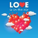 Vector los globos que forman un corazón que vuela sobre el cielo Foto de archivo libre de regalías