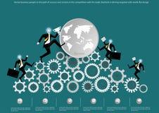 Vector a los hombres de negocios a la trayectoria del éxito y de la victoria en la competencia con el comercio Contragolpe en la  libre illustration