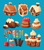 Vector los iconos de la historieta 3D de los dulces para el diseño de juego Fotografía de archivo