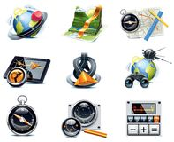 Vector los iconos de la navegación del GPS. Parte 1 Imagenes de archivo