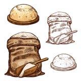 Vector los iconos del bosquejo del bolso y del pan de la harina de la hornada libre illustration