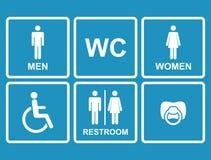 Vector los iconos del lavabo, hombres, mujeres, señora, hombre, bebé Fotos de archivo libres de regalías
