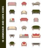 Vector los iconos del sofá y de la butaca en colores retros Foto de archivo libre de regalías