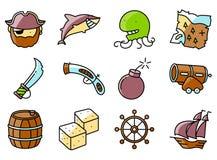 Vector los iconos finos y simples del pirata y del criminal fijados ilustración del vector