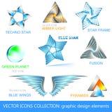Vector los iconos, las insignias y la colección de los elementos del diseño Fotografía de archivo libre de regalías