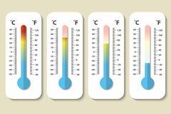Vector los iconos los termómetros de la meteorología de Celsius y de Fahrenheit que miden calor, normal y frío en estilo plano Di ilustración del vector