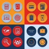 Vector los iconos planos de los artículos del flujo de trabajo del negocio y Fotografía de archivo libre de regalías
