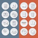 Vector los iconos planos de los artículos del flujo de trabajo del negocio y Fotos de archivo
