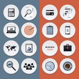 Vector los iconos planos de los artículos del flujo de trabajo del negocio y Fotos de archivo libres de regalías