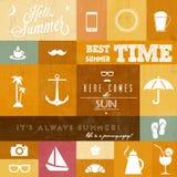 Vector los iconos/whith m tipográfico creativo del verano Fotografía de archivo