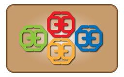 Vector los logotipos abstractos del ejemplo cuatro de rojo, verde, amarillo, azul con las sombras en un fondo marrón en un blanco Fotos de archivo