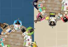 Vector los lugares de trabajo del negocio, trabajo en equipo, reunión de reflexión, análisis de negocio, plan de márketing, un ma Imagenes de archivo