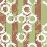 Vector los modelos inconsútiles con el mecanismo de las nueces y de las rayas del tornillo Fondos en colores pastel beige geométr Imagen de archivo
