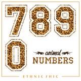 Vector los números animales para las camisetas, los carteles, la tarjeta y otra las aplicaciones Fotos de archivo