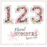 Vector los números florales para las camisetas, los carteles, la tarjeta y otra las aplicaciones Imagen de archivo libre de regalías